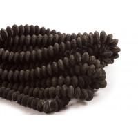Lavasten, mat, rondel, sort, ca. 6x16 mm, 1 streng