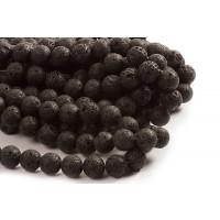 Lavasten, rund, blank, sort, ca. 20 mm, 1 streng