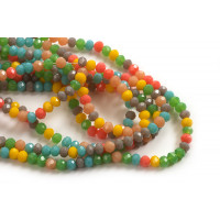 Glasperle, rondel, facet, multicolour, ca. 3,5x2,5 mm, 1 streng