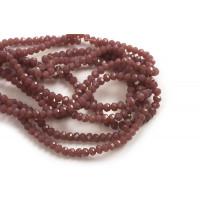 Glasperle, rondel, facet, mørk rosa, 3x2 mm, 1 streng