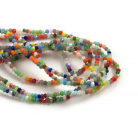Glasperle, rondel, facet, multicolour, 2x1mm, 1 streng