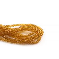 Glasperle, rondel, facet, honninggul, 3x2 mm, 1 streng