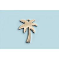 Vedhæng, palme, ca. 17x12 mm, rustfrit stål, 1 stk.