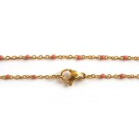 Halskæde m/mørk rosafarvede emaljeperler, 45,5 cm, FG rustfrit stål, 1 stk.
