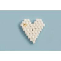 Hjerte, lavet med seed beads, ca. 13x13 mm, hvid, 2 stk.