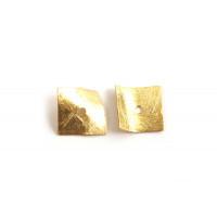 Buet firkant, børstet, ca. 12x12 mm, forgyldt 830s, 2 stk.