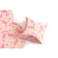 Smykkeæske, pap, m/flamingoer, ca. 8,5x8,5 cm, 1 stk.
