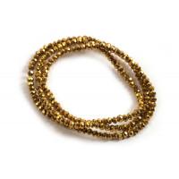 Glasperle, rondel, facet, guld, 3x2 mm, 1 streng