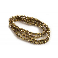 Glasperle, rondel, facet, guld, 2x1,5 mm, 1 streng