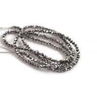 Glasperle, rondel, facet, sølv, 2x1,5 mm, 1 streng