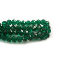 Glasperle, rondel, facet, grøn, 10x7 mm, 1 streng
