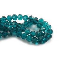 Glasperle, rondel, facet, petroleumsfarvet, 10x7 mm, 1 streng