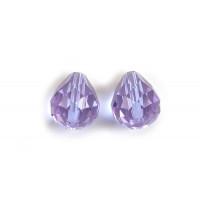 Glasperle, dråbe, facet, 10x12 mm, lys blå/lilla, 2 stk.