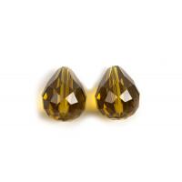 Glasperle, dråbe, facet, 10x12 mm, olivengrøn, 2 stk.