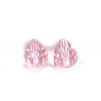 Glasperle, dråbe, facet, 10x12 mm, rosa, 2 stk.