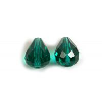 Glasperle, dråbe, facet, 10x12 mm, grøn, 2 stk.