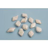 Ferskvandsperler, harlekintern, ca. 15x10 mm, hvid, 2 stk.