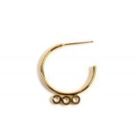 Hoops m/3 øjne, ca. 22 mm, FG med 18 K guld, 1 par