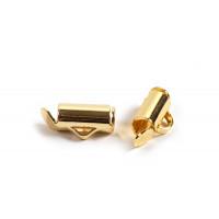 Endestykke, slide, ca. 9x6  mm, forgyldt med 18 K guld, 2 stk.