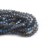 Glasperle, rondel, facet, gråblå, 5x6 mm, 1 streng