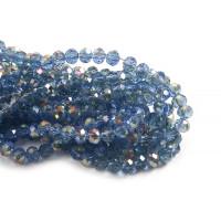 Glasperle, rondel, facet, lyseblå, 5x6 mm, 1 streng