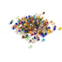 Glasperle, rondel, facet, multicolour, 3x4 mm, 200 stk.