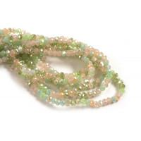 Glasperle, rondel, facet, lysegrønne, 2,5x3 mm, 1 streng
