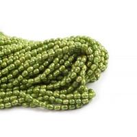 Ferskvandsperler, rice, limegrøn, ca. 5-7 mm, 1 streng