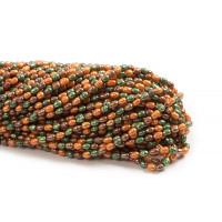 Ferskvandsperler, rice, grøn/brun/gylden, ca. 5-7 mm, 1 streng
