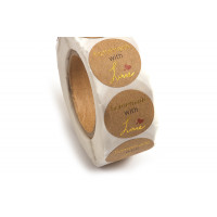 "Labels, 26 mm, ""Handmade with love"", rulle med 500 stk."