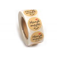 """Labels, 25 mm, """"Handmade"""", rulle med 500 stk."""
