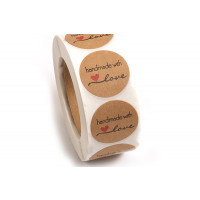 "Labels, 25 mm, ""Handmade with love"", rulle med 500 stk."
