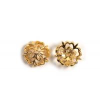 Perlehat, blomst, ca. 9,5x3 mm, forgyldt med 18K guld, 2 stk.