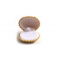 Smykkeæske, muslingeskal, velour, ca. 50x60x30 mm, sandfarvet, 1 stk.