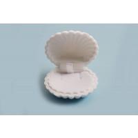 Smykkeæske, muslingeskal, velour, ca. 50x60x30 mm, hvid, 1 stk.