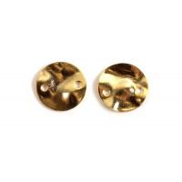 Mønt m/2 huller, ca. 8x1 mm, forgyldt med 18K guld, 2 stk.