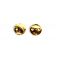 Mønt m/2 huller, ca. 6x0,8 mm, forgyldt med 18K guld, 2 stk.