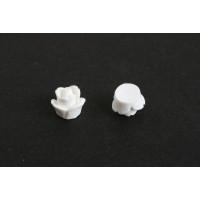 Rose, resin/acryl, 7 mm, hvid, 2 stk.