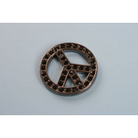 Peacetegn, oxyderet (BP), 20 mm,  m/sorte krystaller, 1 stk.