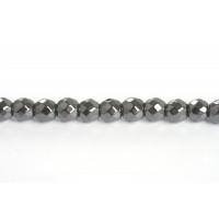 Hematite, rund, facet, 3 mm, 1 streng