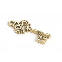 Nøgle, 28x12x2 mm, antikguld, 1 stk.