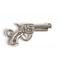 Pistol, 22x11x3 mm, antiksølv, 1 stk.