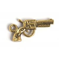 Pistol, 22x11x3 mm, antikguld, 1 stk.