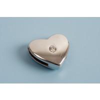 Slide, hjerte m/rhinsten, 12 mm, FS, 1 stk.