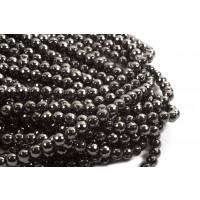Hæmatit, rund, facet, 8 mm, 1 streng