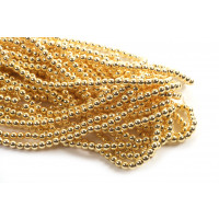 Hæmatit, rund, guldfarvet, 4 mm, 1 streng