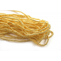 Hæmatit, rund, guldfarvet, 3 mm, 1 streng