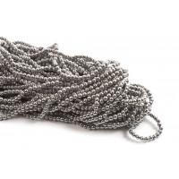 Hæmatit, rund, mørk sølvfarvet, 3 mm, 1 streng