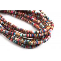 Polymer / fimo perler, 3,5x1 mm, mørkt farvemix, 1 streng