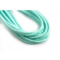 Polymer / fimo perler perler, 3x1 mm, turkis, 1 streng